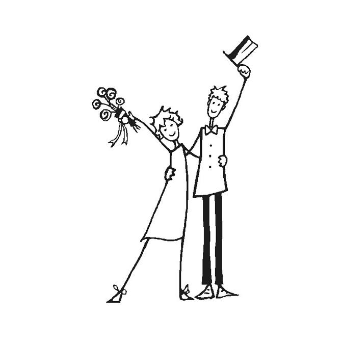 Tampon Bois Jeunes mariés, 4 x 6 x 2,8 cm