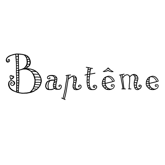 Tampon Bois Baptême, 6 x 3 x 2,8 cm