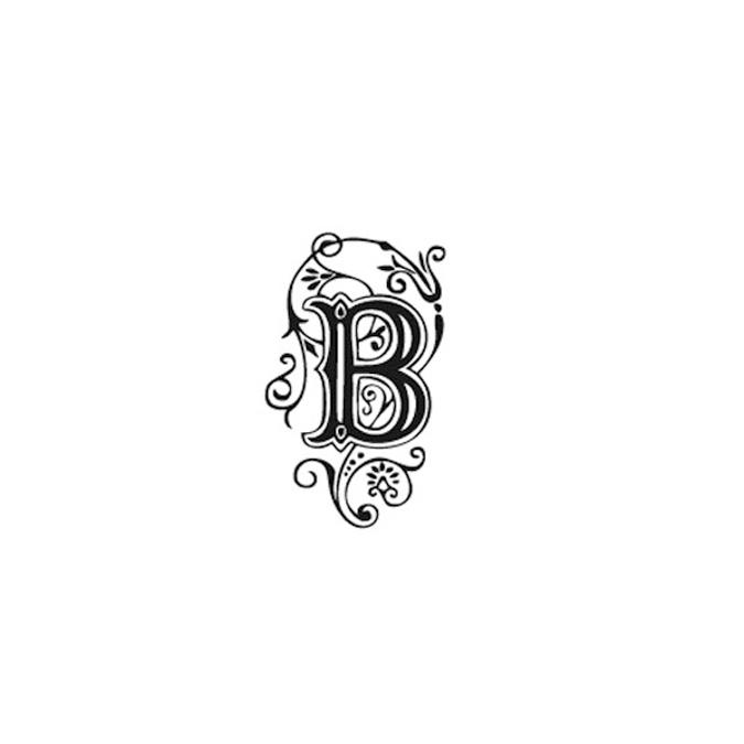 Tampon Bois Alphabet Arabesque lettre B, 2,8 x 2,8 x 2,8 cm