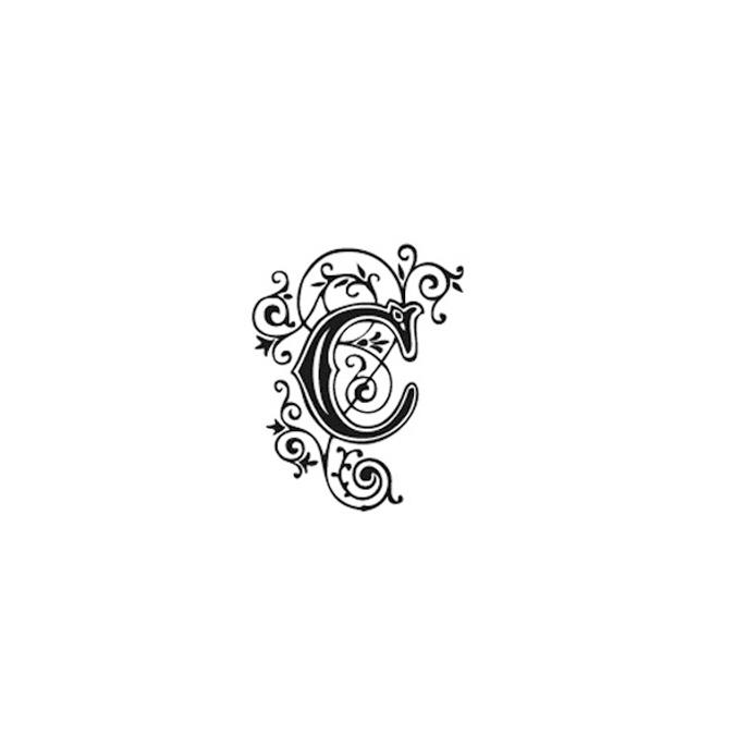 Tampon Bois Alphabet Arabesque lettre C, 2,8 x 2,8 x 2,8 cm