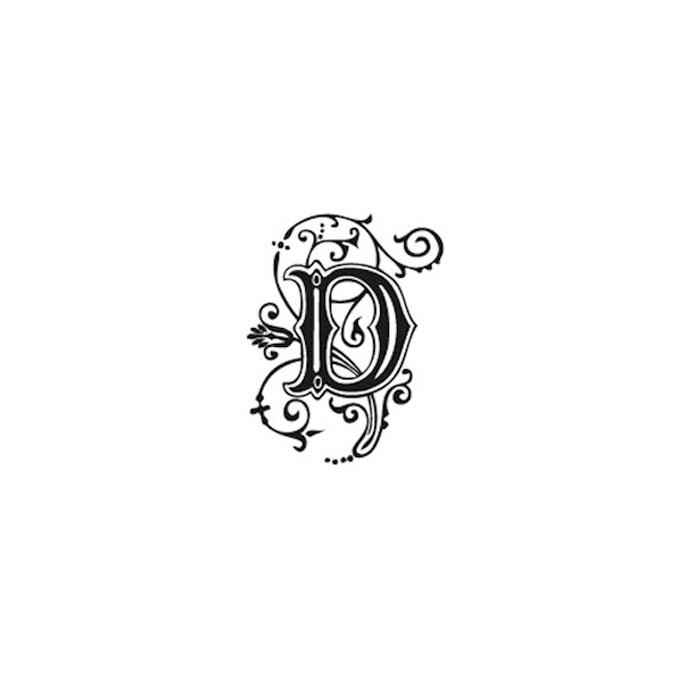 Tampon Bois Alphabet Arabesque lettre D, 2,8 x 2,8 x 2,8 cm