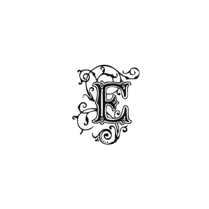Tampon Bois Alphabet Arabesque lettre E, 2,8 x 2,8 x 2,8 cm