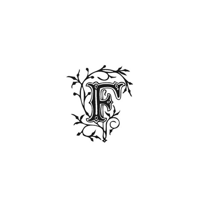 Tampon Bois Alphabet Arabesque lettre F, 2,8 x 2,8 x 2,8 cm