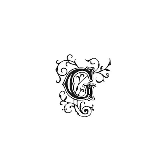Tampon Bois Alphabet Arabesque lettre G, 2,8 x 2,8 x 2,8 cm