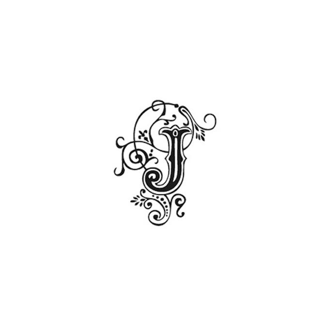 Tampon Bois Alphabet Arabesque lettre J, 2,8 x 2,8 x 2,8 cm