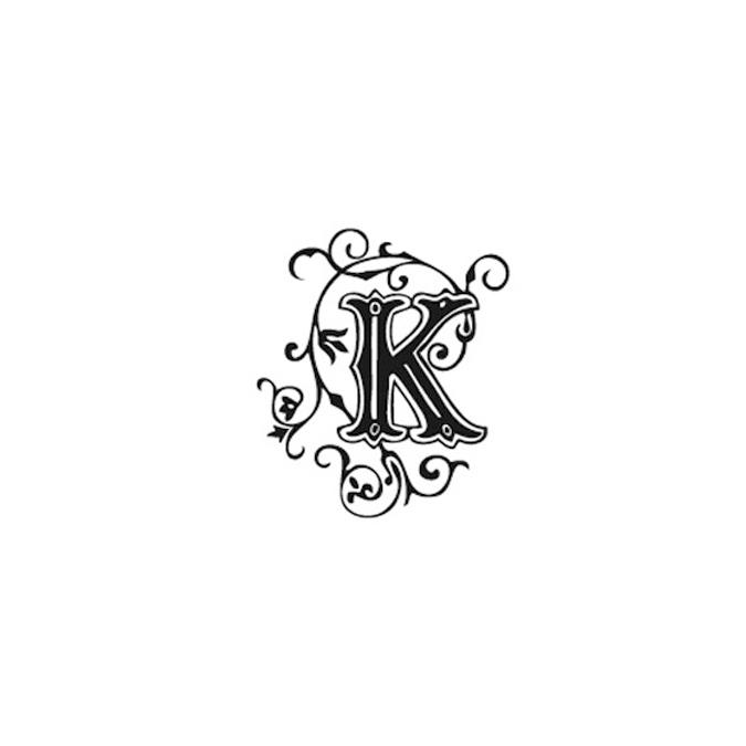 Tampon Bois Alphabet Arabesque lettre K, 2,8 x 2,8 x 2,8 cm