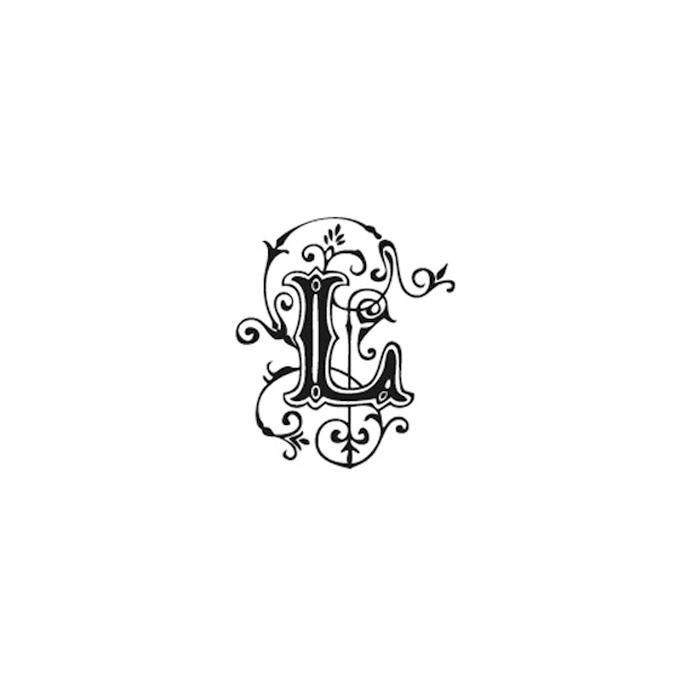 Tampon Bois Alphabet Arabesque lettre L, 2,8 x 2,8 x 2,8 cm