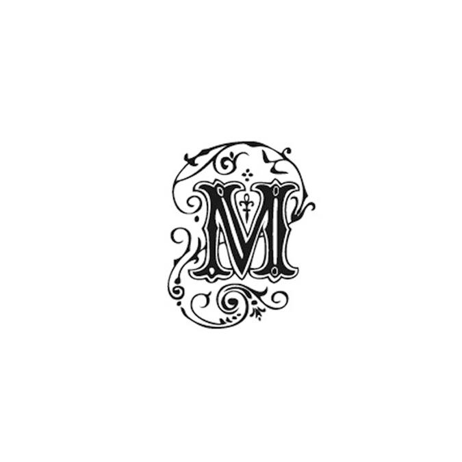 Tampon Bois Alphabet Arabesque lettre M, 2,8 x 2,8 x 2,8 cm
