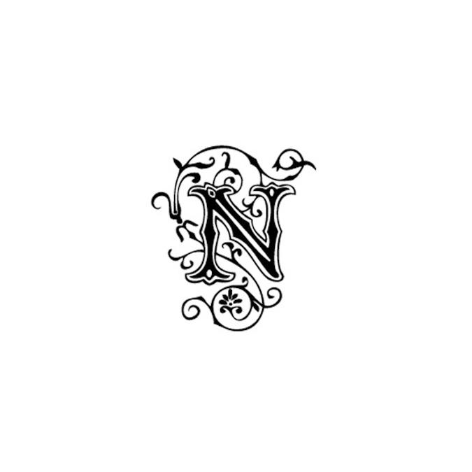 Tampon Bois Alphabet Arabesque lettre N, 2,8 x 2,8 x 2,8 cm