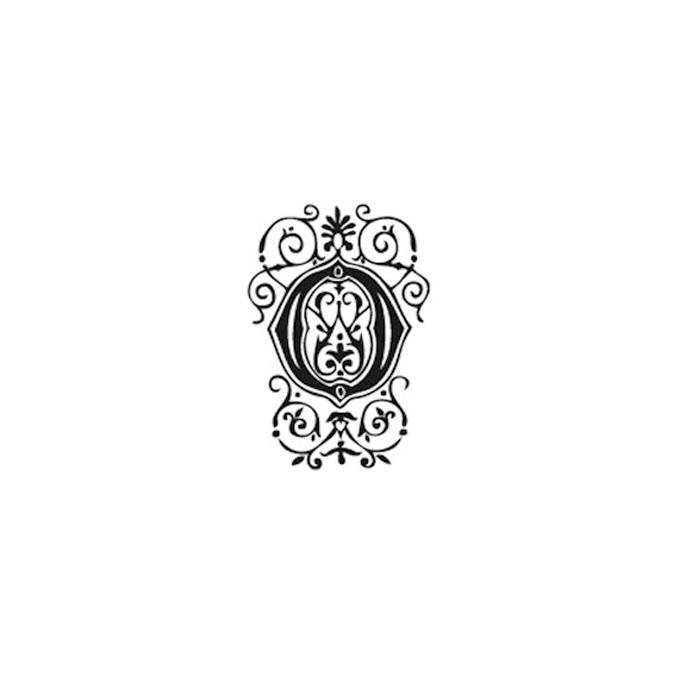 Tampon Bois Alphabet Arabesque lettre O, 2,8 x 2,8 x 2,8 cm