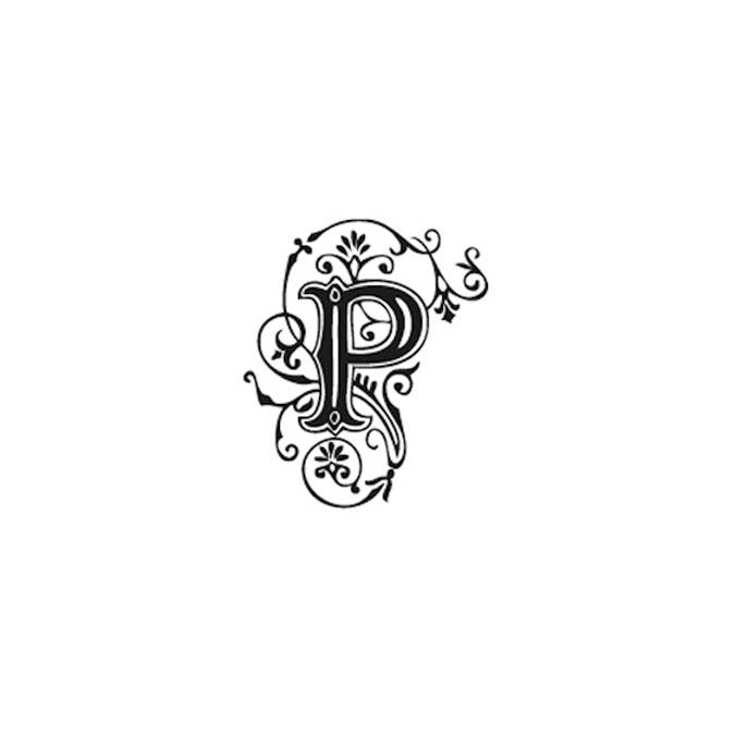 Tampon Bois Alphabet Arabesque lettre P, 2,8 x 2,8 x 2,8 cm