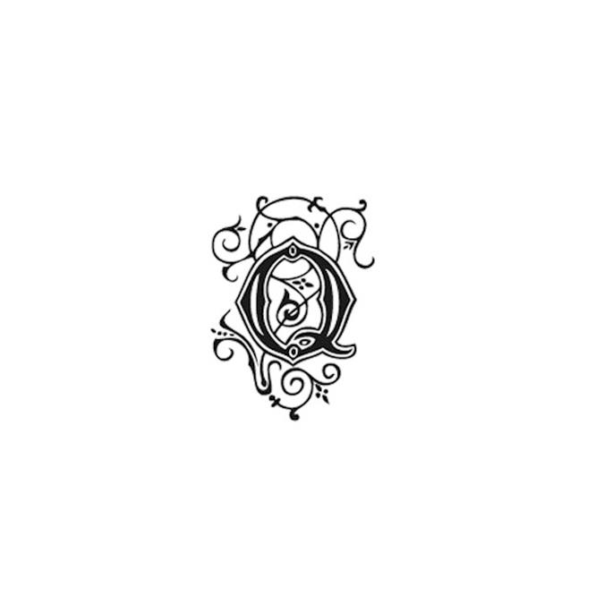 Tampon Bois Alphabet Arabesque lettre Q, 2,8 x 2,8 x 2,8 cm