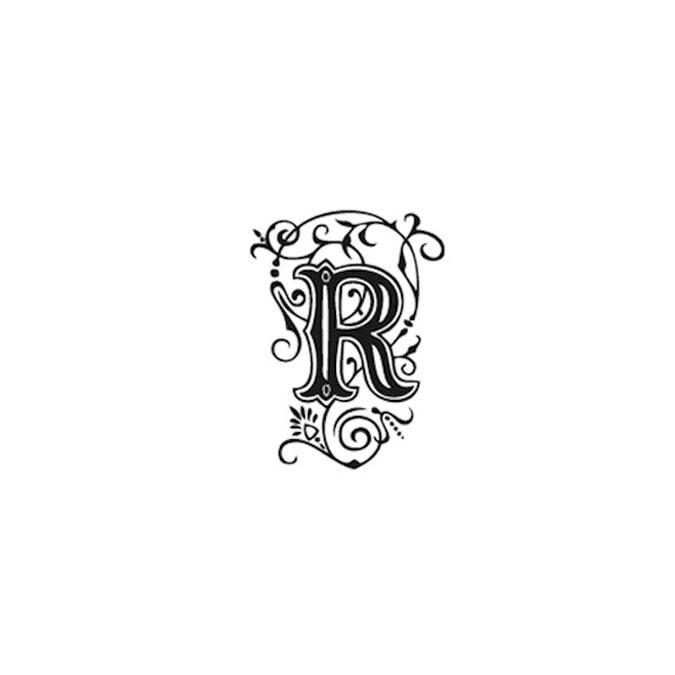 Tampon Bois Alphabet Arabesque lettre R, 2,8 x 2,8 x 2,8 cm