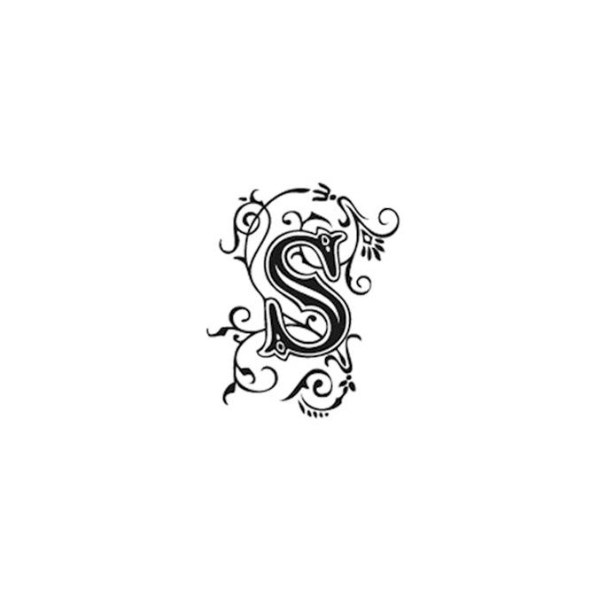 Tampon Bois Alphabet Arabesque lettre S, 2,8 x 2,8 x 2,8 cm