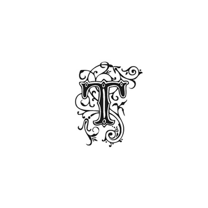 Tampon Bois Alphabet Arabesque lettre T, 2,8 x 2,8 x 2,8 cm