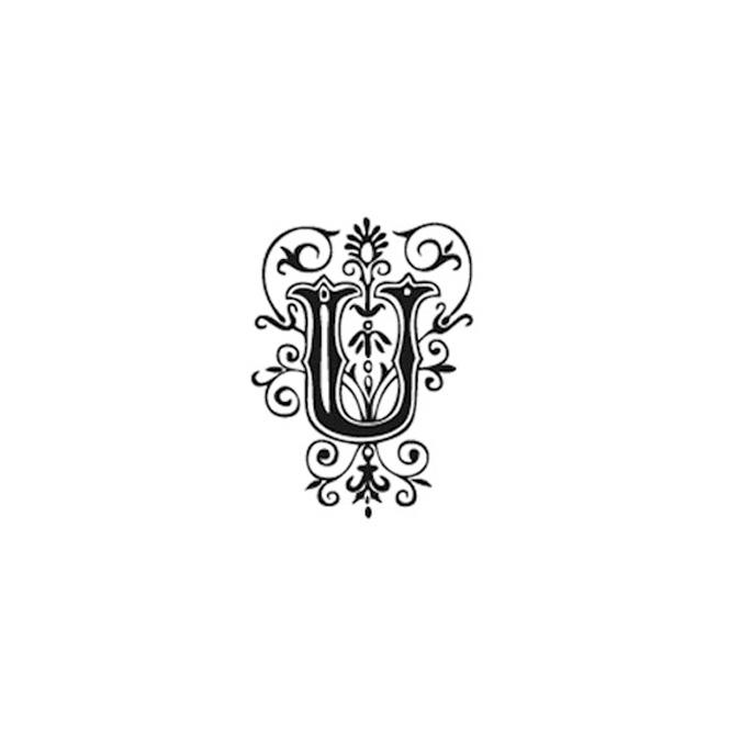 Tampon Bois Alphabet Arabesque lettre U, 2,8 x 2,8 x 2,8 cm