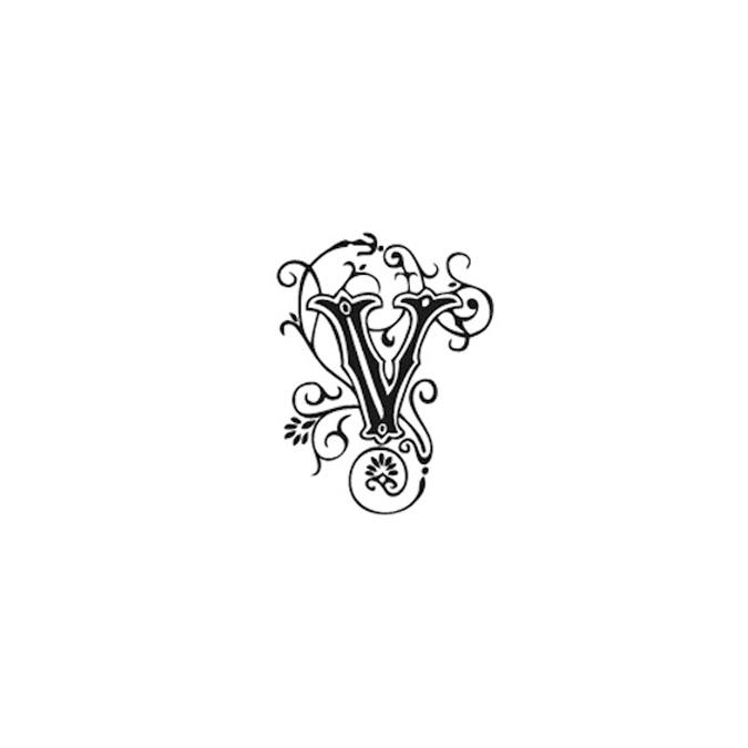 Tampon Bois Alphabet Arabesque lettre V, 2,8 x 2,8 x 2,8 cm