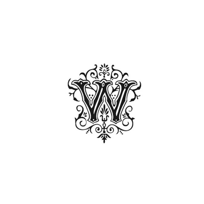Tampon Bois Alphabet Arabesque lettre W, 2,8 x 2,8 x 2,8 cm
