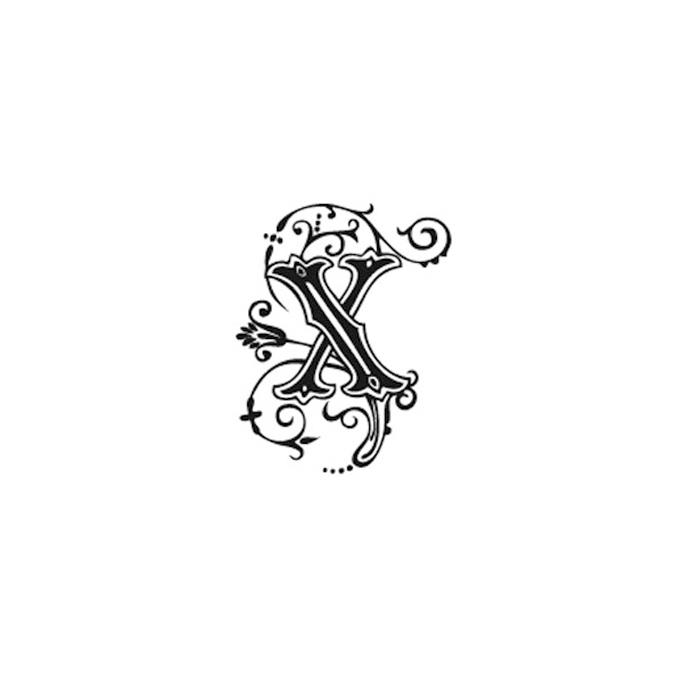 Tampon Bois Alphabet Arabesque lettre X, 2,8 x 2,8 x 2,8 cm