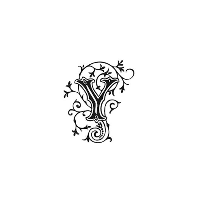 Tampon Bois Alphabet Arabesque lettre Y, 2,8 x 2,8 x 2,8 cm