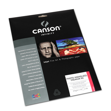 Papier photo Canson Infinity 315g A4 Highgloss blanc