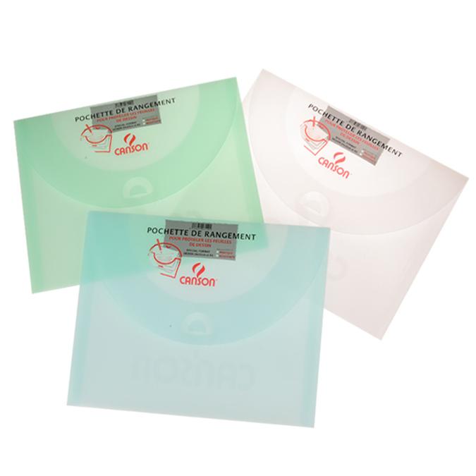Pochette de rangement 27 x 35cm 500 blanc vert bleu