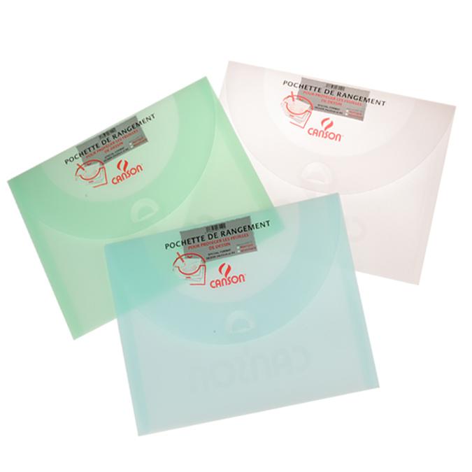 Pochette de rangement 34 x 47cm 500 blanc vert bleu