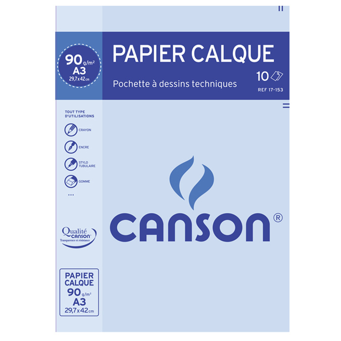 Papier calque 90g A3 pochette de 10 feuilles