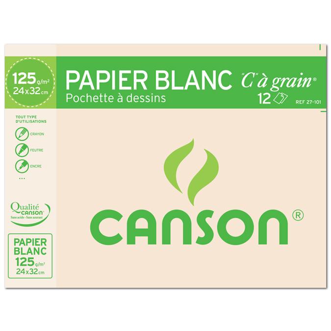 Canson C à GRAIN, Grain Fin 125g/m², pochette