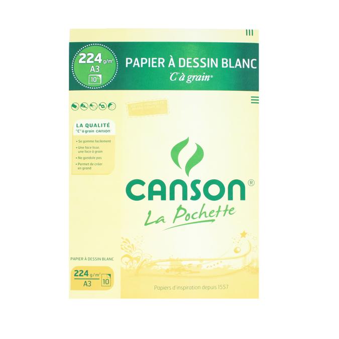 Canson C à GRAIN, Grain Fin 224g/m², pochette