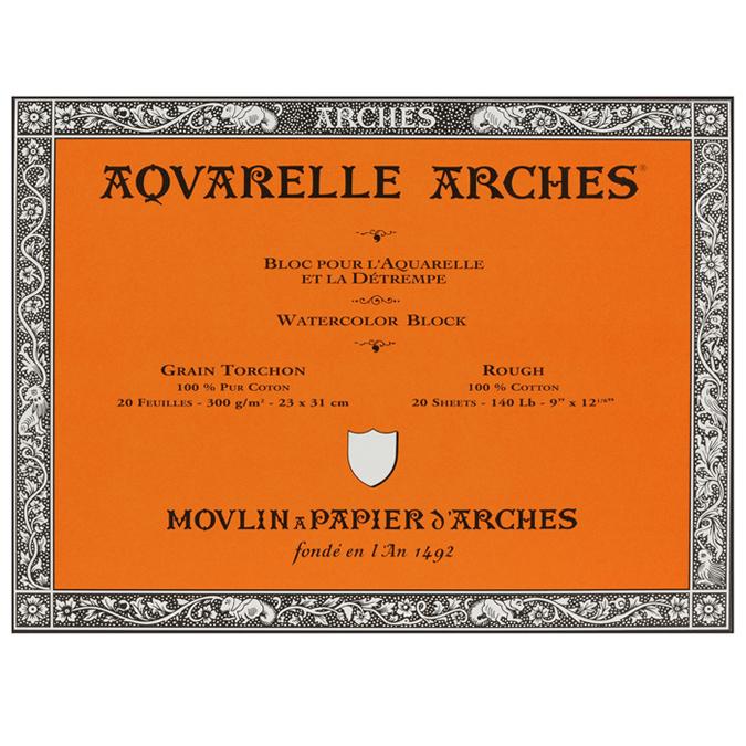 Papier aquarelle Arches bloc de 20 feuilles 23 x 31cm 300g grain torchon