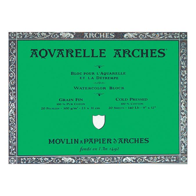 Papier aquarelle Arches bloc de 20 feuilles 23 x 31cm 300g grain fin