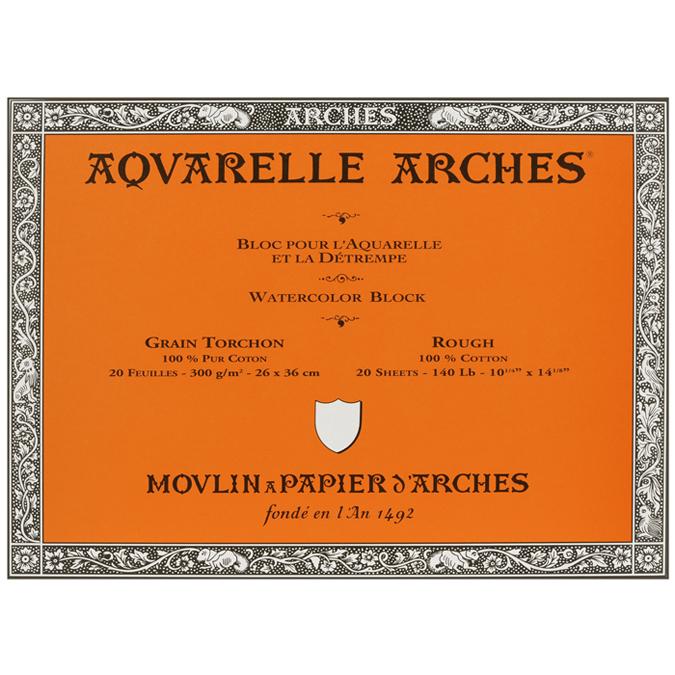 Papier aquarelle Arches bloc de 20 feuilles 26 x 36cm 300g grain torchon