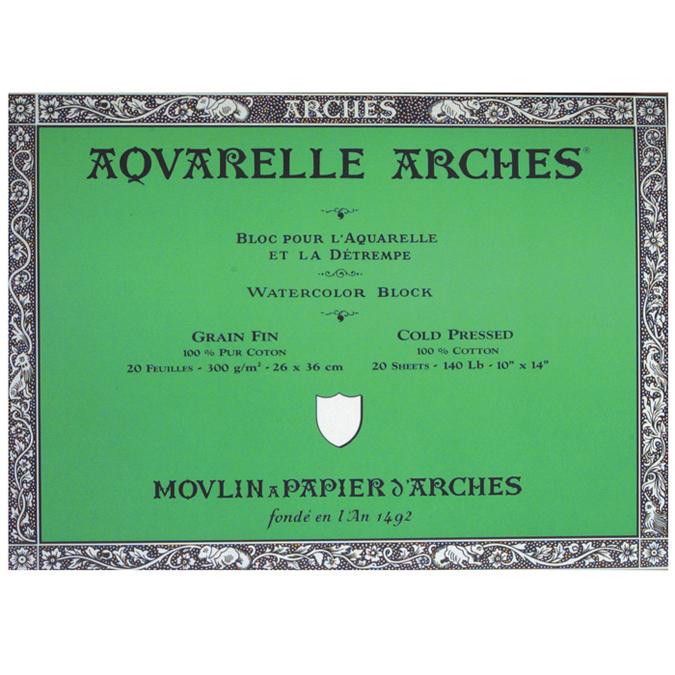 Papier aquarelle Arches bloc de 20 feuilles 26 x 36cm 300g grain fin