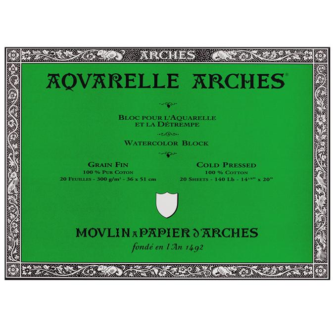 Papier aquarelle Arches bloc de 20 feuilles 36 x 51cm 300g grain fin