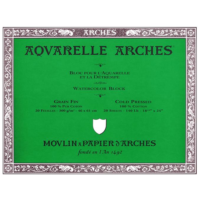 Papier aquarelle Arches bloc de 20 feuilles 46 x 61cm 300g grain fin