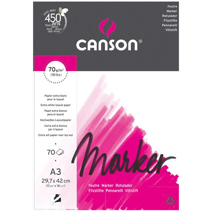 Canson Marker Layout très lisse 70g/m², bloc collé petit côté A3 - 29,7 x 42cm