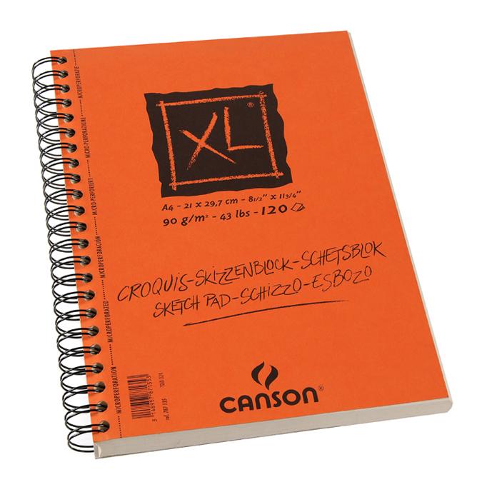 Canson XL Croquis Grain Fin 90g/m², bloc spiralé grand côté A4 - 21 x 29,7cm