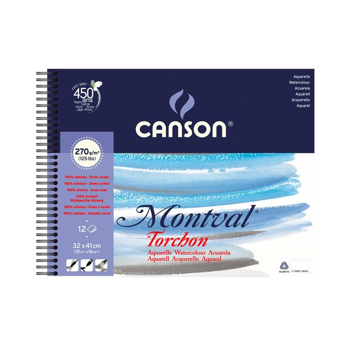 Papier aquarelle Montval album de 12 feuilles 270g 32 x 41cm grain nuage