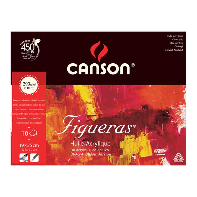 Papier pour l'huile Figueras bloc de 10 feuilles 290g 19 x 25cm grain toilé