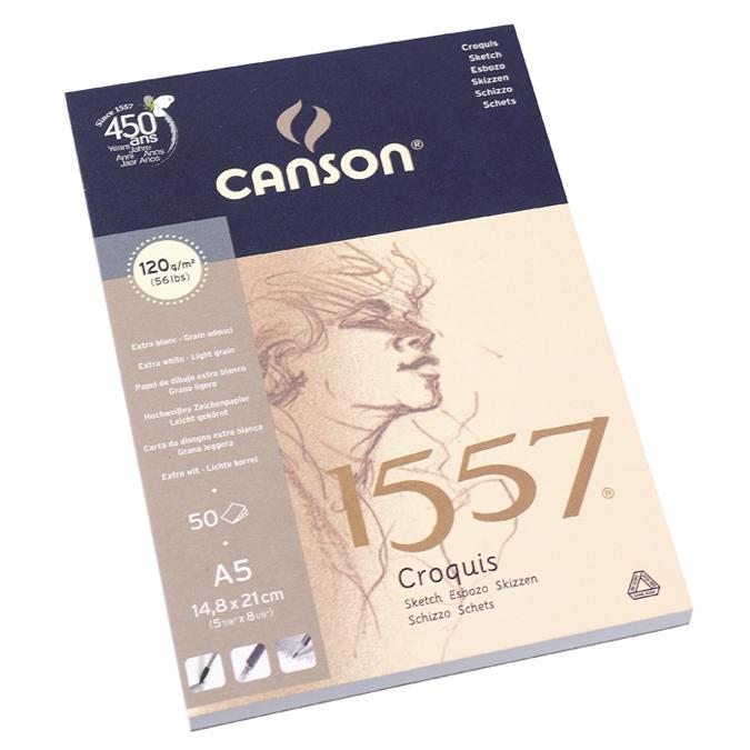 Canson 1557 grain léger 120g/m², bloc collé petit côté 14,8 x 21cm
