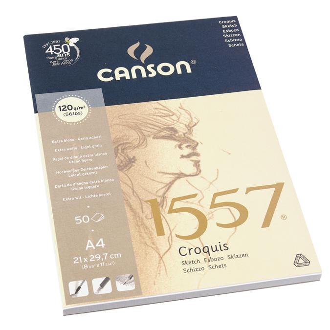 Canson 1557 grain léger 120g/m², bloc collé petit côté A4 - 21 x 29,7cm