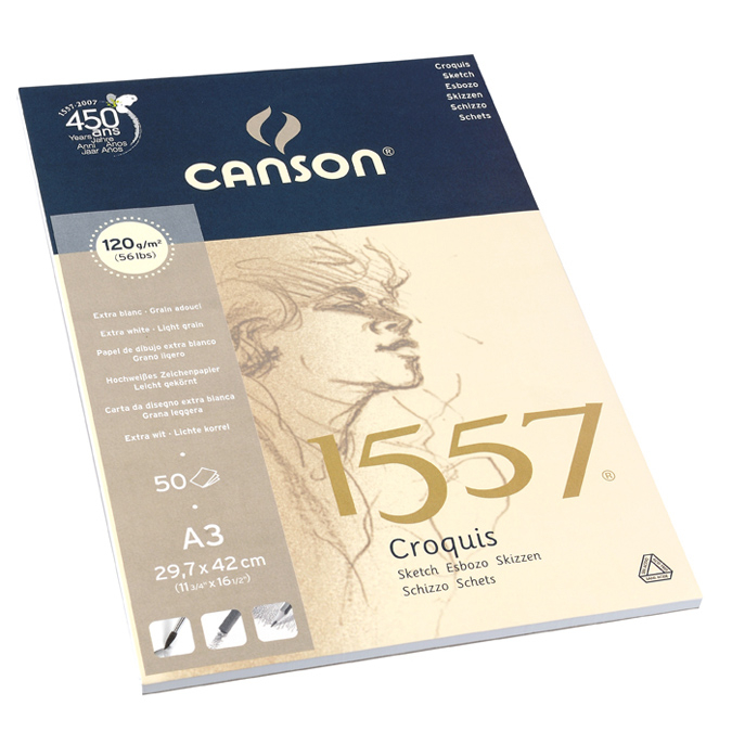 Canson 1557 grain léger 120g/m², bloc collé petit côté A3 - 29,7 x 42cm