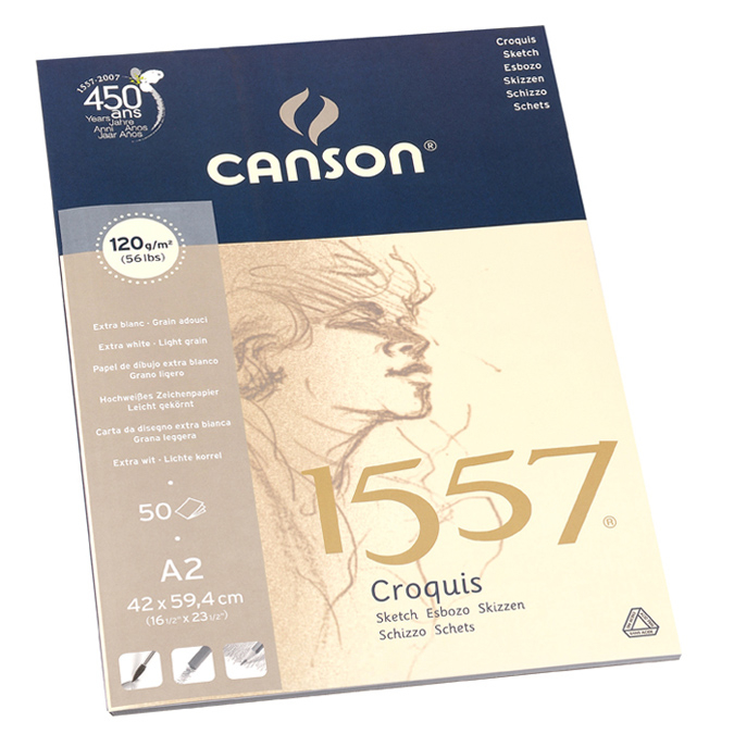 Canson 1557 grain léger 120g/m², bloc collé petit côté 42 x 59,4cm