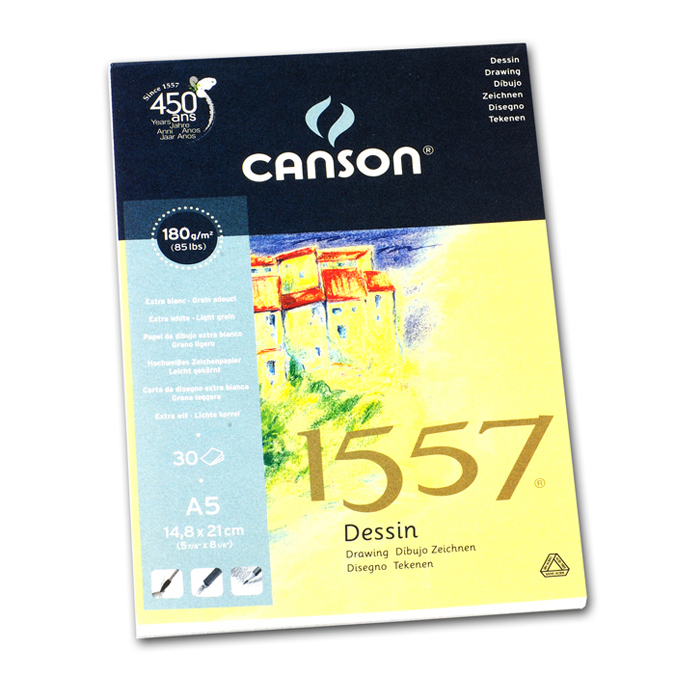 Canson 1557 grain léger 180g/m², bloc collé petit côté 14,9 x 21cm