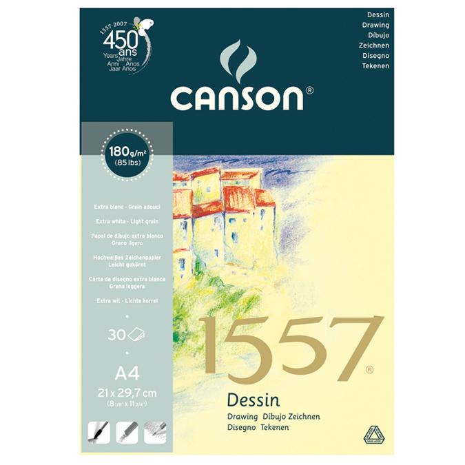 Canson 1557 Grain Léger 180g/m², bloc collé petit côté A4 - 21 x 29,7cm