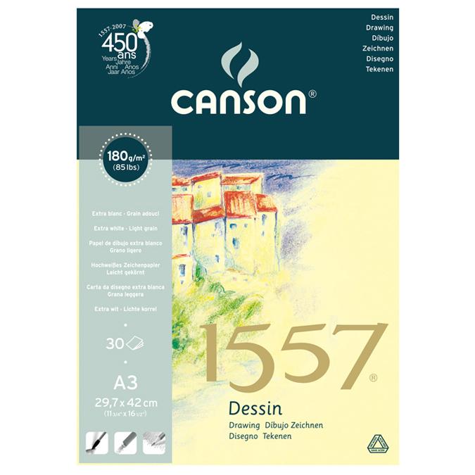 Canson 1557 Grain Léger 180g/m², bloc collé petit côté A3 - 29,7 x 42cm