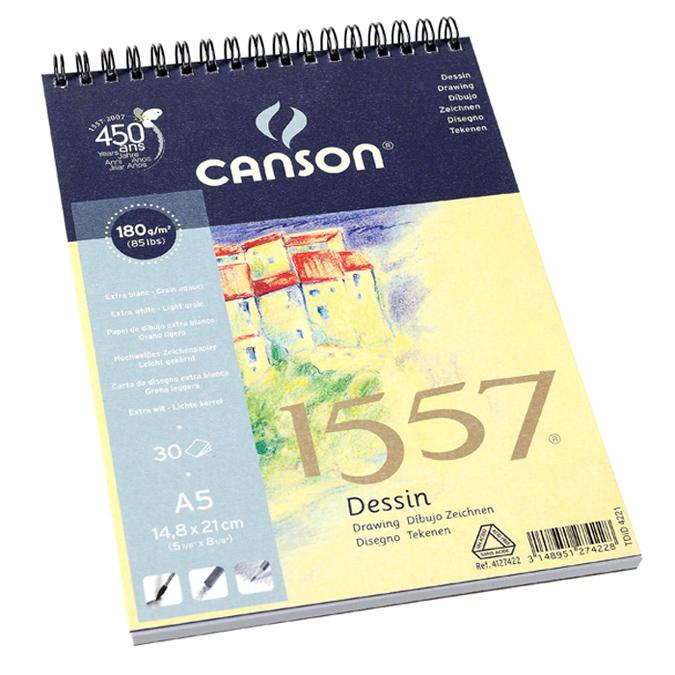 Canson 1557 grain léger 180g/m², bloc spiralé petit côté A5 - 14,8 x 21cm
