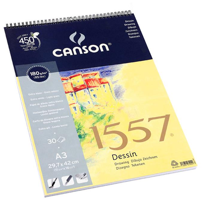 Canson 1557 grain léger 180g/m², bloc spiralé petit côté A3 - 29,7 x 42cm