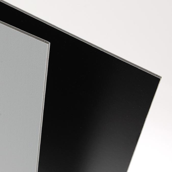 Carton plume 5mm Domino 50 x 65 cm, une face noire, une face grise